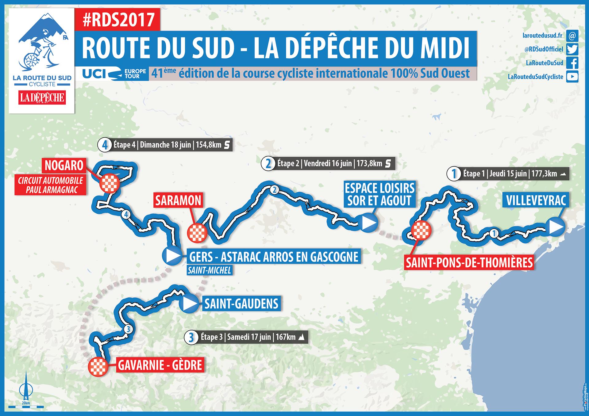 Carte Générale Route Du Sud 2017